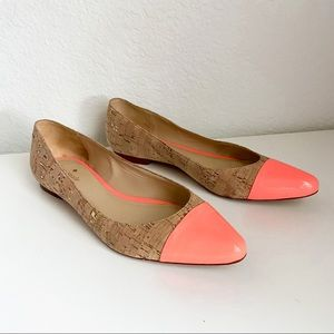 Kate Spade neon coral cap toe pointy flats 8